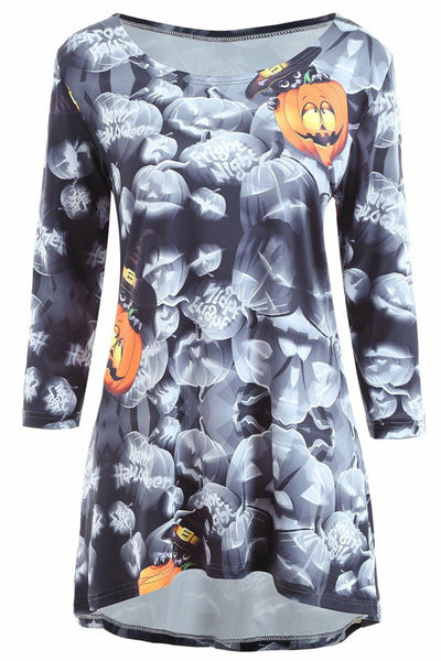 B| Chicloth Halloween Pumpkin Print High Low Long Sleeve Dress-party dresses-Chicloth