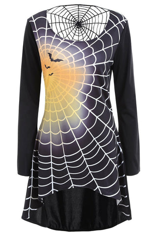 B| Chicloth Bell Sleeve Spider Web Print Halloween T Shirt Dress-party dresses-Chicloth