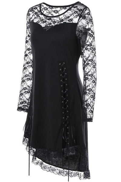 B| Chicloth Halloween Lace Yoke Lace Up Cocktail Dress-party dresses-Chicloth