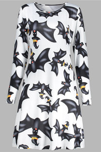 B| Chicloth Halloween Bat Print A Line Tunic Dress-party dresses-Chicloth