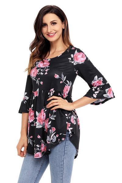 Chicloth Black Grounding Floral Print Babydoll Top