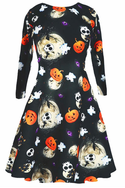 B| Chicloth Halloween Pumpkin Skull Moon Print Dress