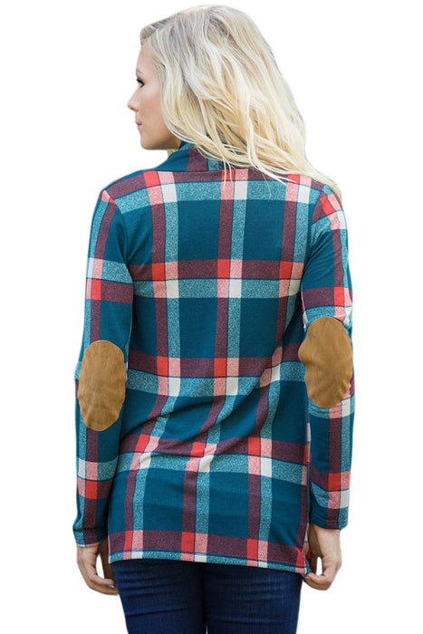 A| Chicloth Green Suede Elbow Patch Long Sleeve Plaid Cardigan-Sweaters-Chicloth