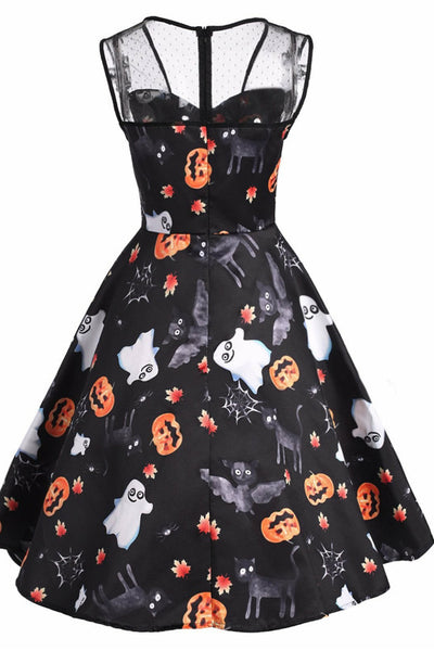 B| Chicloth Halloween Printed Lace Panel Sleeveless Vintage Dress