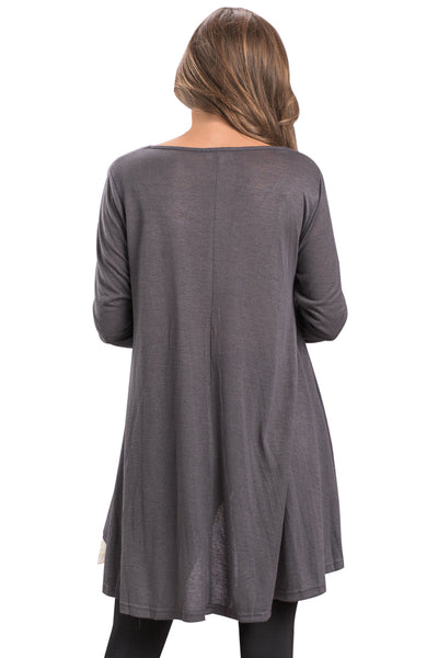 Chicloth Charcoal Swingy Layered Long Sleeve Tunic