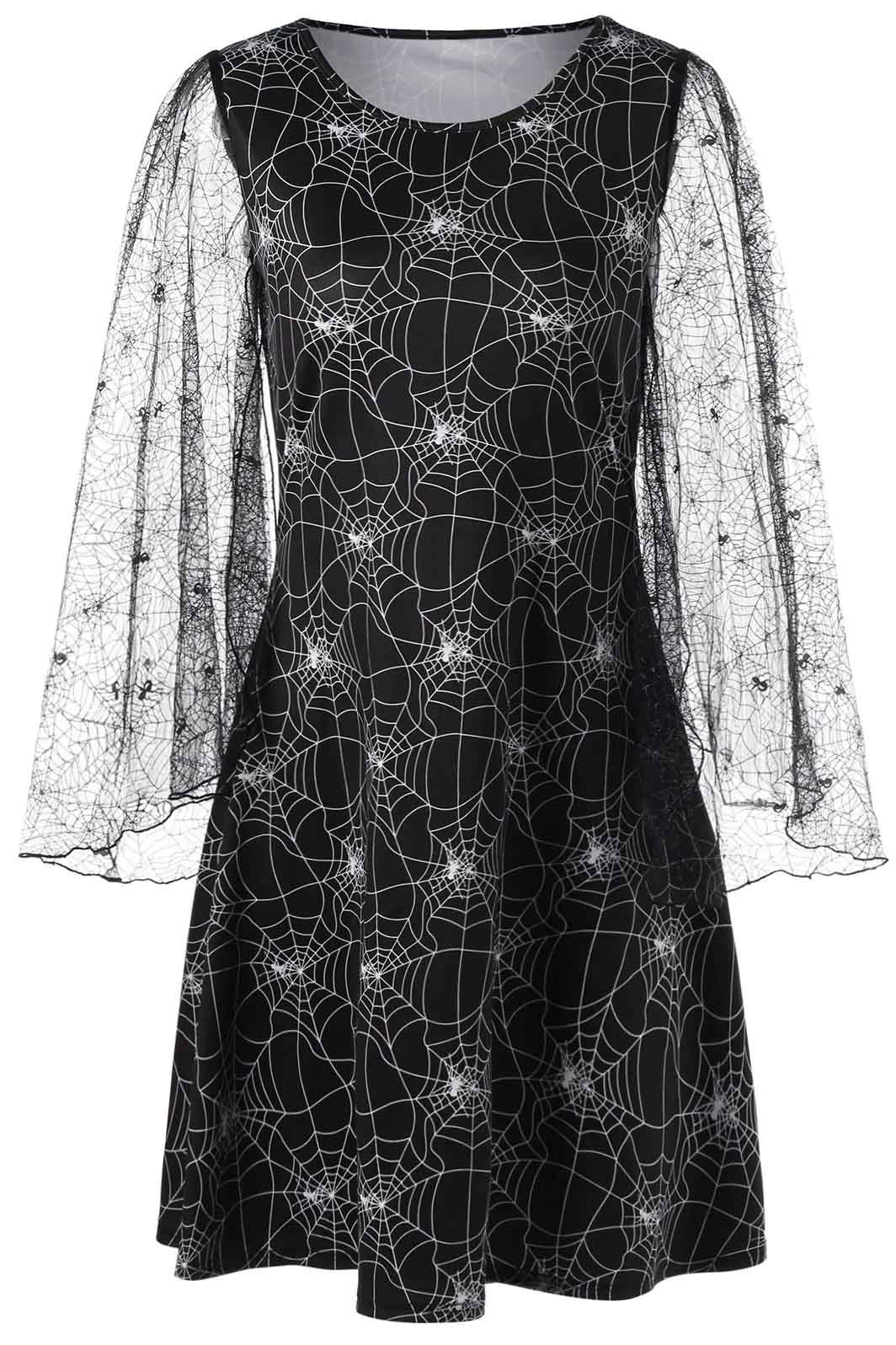 B| Chicloth Halloween Lace Sleeve Spider Web Print Dress