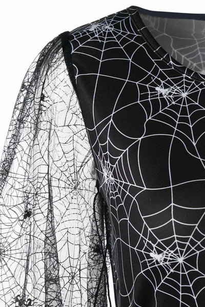 B| Chicloth Halloween Lace Sleeve Spider Web Print Dress-party dresses-Chicloth