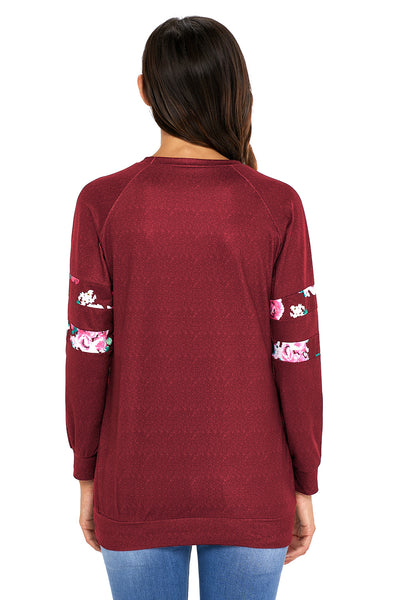 Chicloth Floral Patch Accent Burgundy Sweatshirt