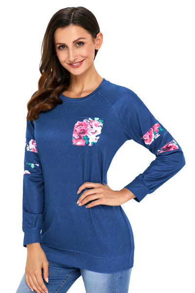 Chicloth Floral Patch Accent Navy Sweatshirt