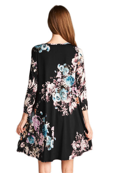 Chicloth Dark Floral Long Sleeve A-Line Tunic Dress
