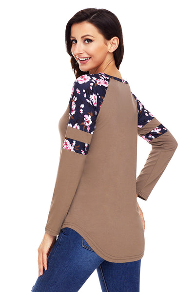 Chicloth Brown Floral Varsity Stripe Long Sleeve Top