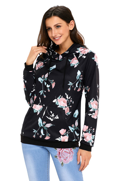 Chicloth Black Casual Floral Printed Hoodie-Women's Clothes||Sweatshirts & Hoodies-Chicloth