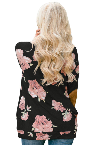 Chicloth Floral Print Elbow Patch Black Long Sleeve Top