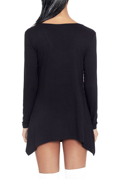 Chicloth Black Handkerchief Hem Rose Skull Tunic Top-Women's Clothes||Blouses & Tops-Chicloth