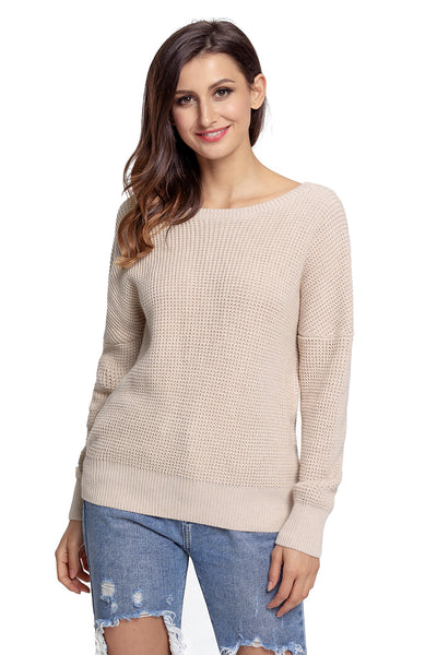 A| Chicloth Aprioct Cross Back Hollow-Out Sweater