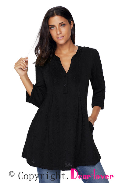 Chicloth Black Cable Knit Button Neck Swingy Tunic