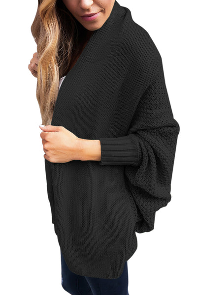 Chicloth Black Chunky Knit Open Front Dolman Cardigan-Women's Clothes||Sweaters & Cardigans-Chicloth