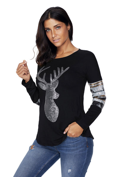 Chicloth Black Loose Sequin Christmas Reindeer Top-Women's Clothes||Blouses & Tops-Chicloth