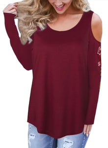 Chicloth Round Neck Cold Shoulder Embroidered Long Sleeve T-Shirt - Chicloth