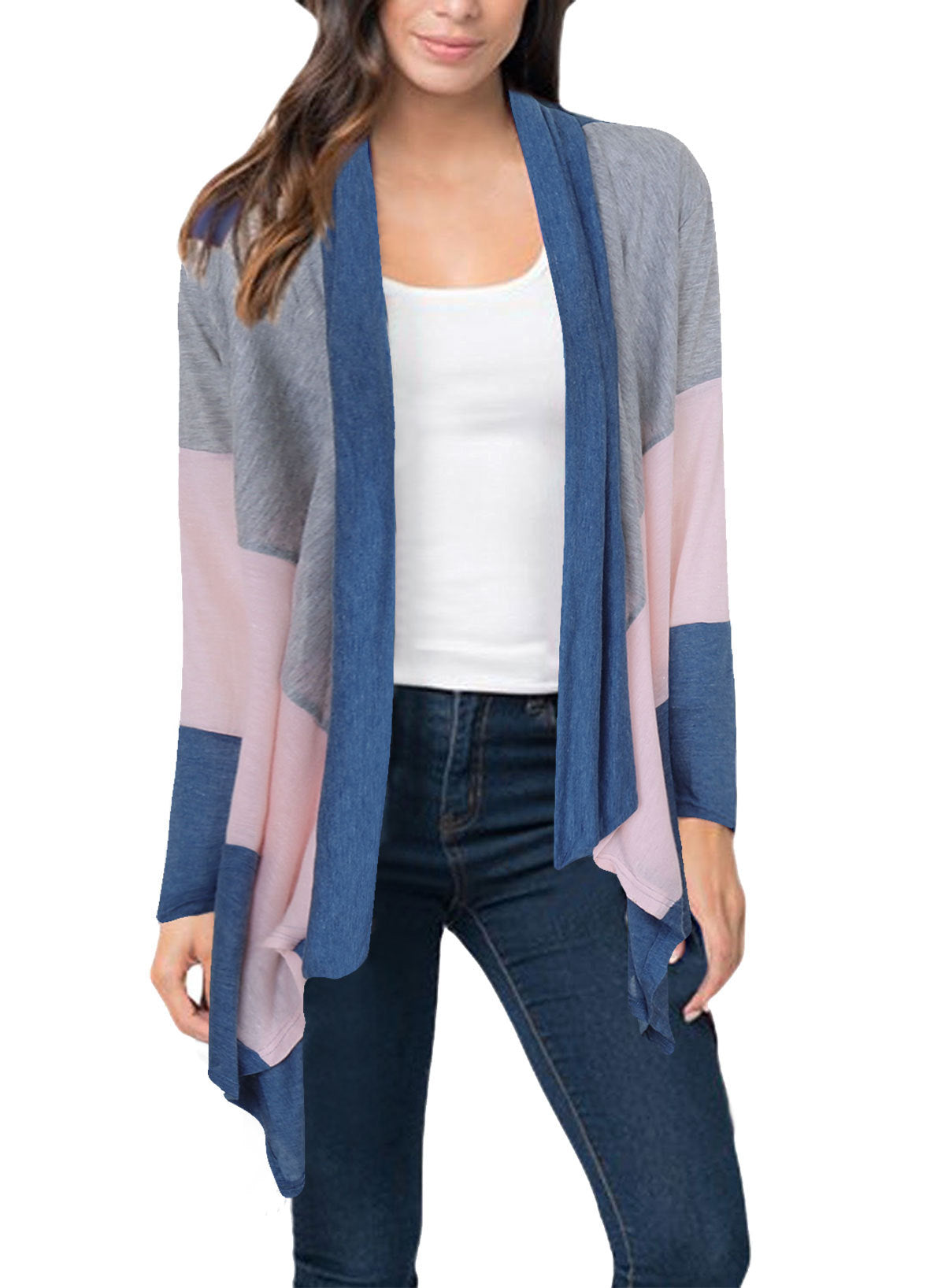 Chicloth Three-Color Stitching Long Sleeve Cardigan Coat - S / Blue
