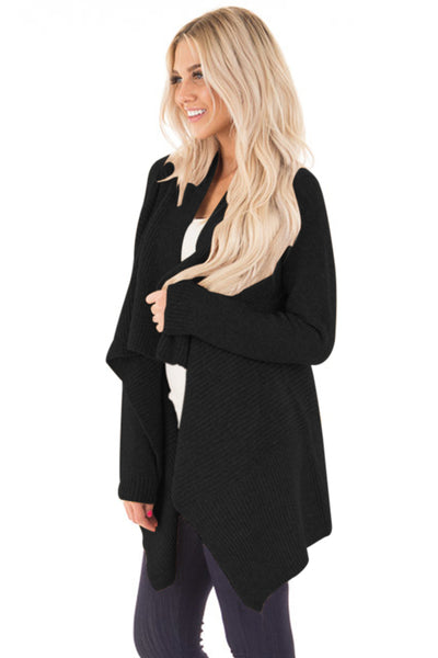 Chicloth Black Waterfall Long Sleeve Sweater Cardigan