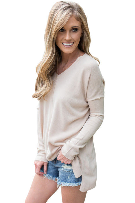 Chicloth Apricot Soft V Neck Sweater-Women's Clothes||Sweaters & Cardigans-Chicloth