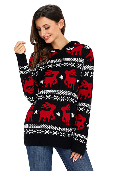 Chicloth Cute Christmas Reindeer Knit Black Hooded Sweater-Women's Clothes||Sweaters & Cardigans-Chicloth