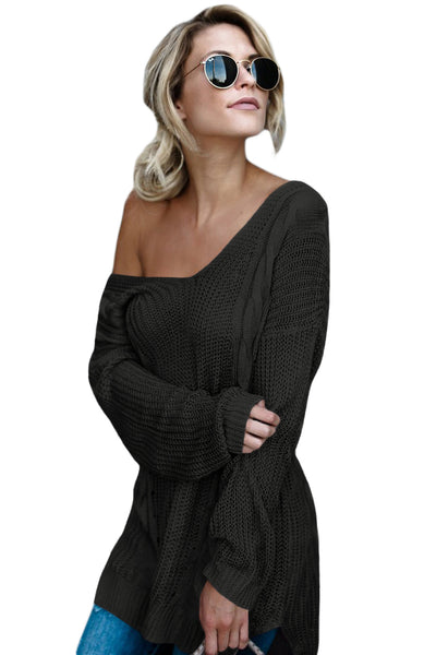 Chicloth Black Modern Lady Cable Knit Sweater