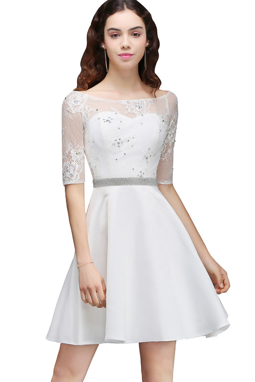 B| Chicloth A Line Jewel White Short Sleeve Satin Homecoming Dresses With Lace-Chicloth