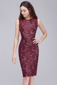 AA| Chicloth Mermaid Jewel Knee-Length Lace Homecoming Dresses