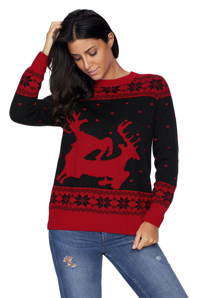 Chicloth Black Red Reindeer In The Snow Christmas Jumper