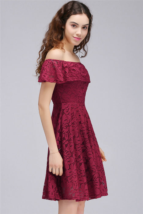 Chicloth A-Line Off-The-Shoulder Lace Burgundy Homecoming Dresses-Chicloth