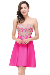 AA| Chicloth A-Line Sleeveless Chiffon Short Prom Dresses With Appliques
