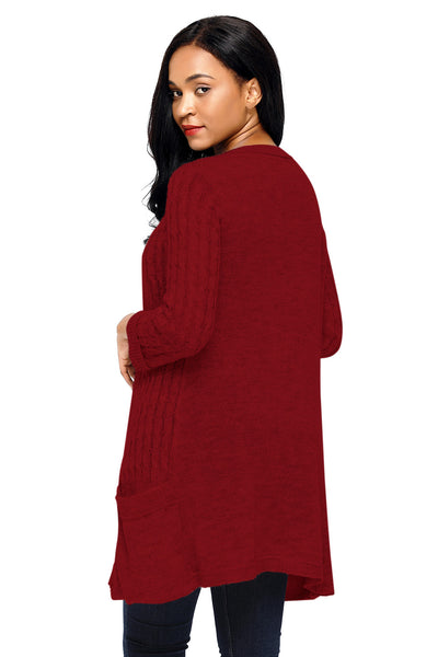 Chicloth Burgundy 3/4 Sleeve Open Front Casual Knit Sweater