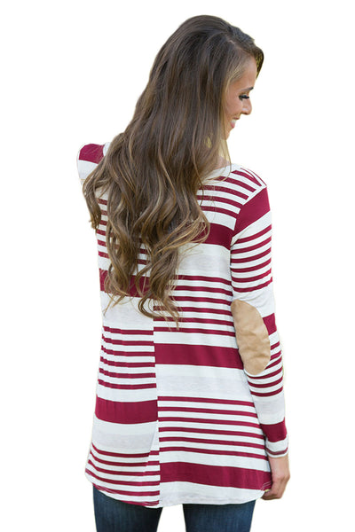 Chicloth Burgundy Striped Patch Elbow Raglan Blouse