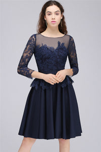 AA| Chicloth A-Line Sheer Neck Short Dark Navy Homecoming Dresses With Lace Appliques