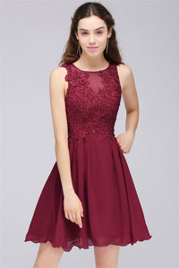 AA| Chicloth A-Line Jewel Short Chiffon Burgundy Homecoming Dresses With Lace Appliques
