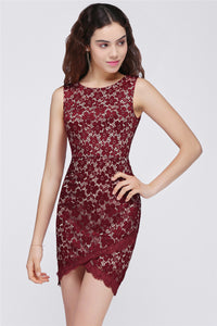 AA| Chicloth Bodycon Round Neck Short Lace Burgundy Homecoming Dresses
