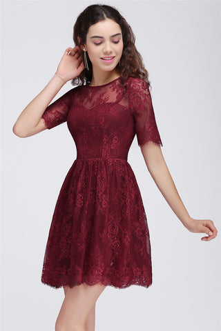 AA| Chicloth A-Line Round Neck Short Lace Burgundy Homecoming Dresses