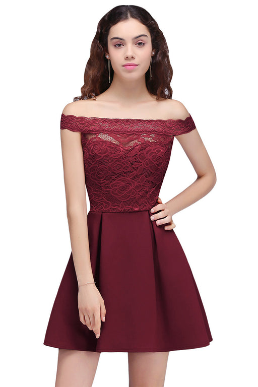 AA| Chicloth A-Line Off-The-Shoulder Short Lace Burgundy Homecoming Dresses-Chicloth