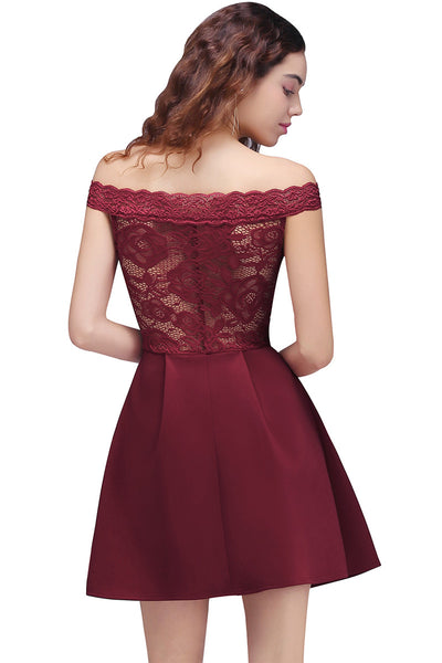 AA| Chicloth A-Line Off-The-Shoulder Short Lace Burgundy Homecoming Dresses