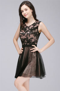AA| Chicloth A-Line Crew Short Sleeveless Tulle Lace Appliques Prom Dresses