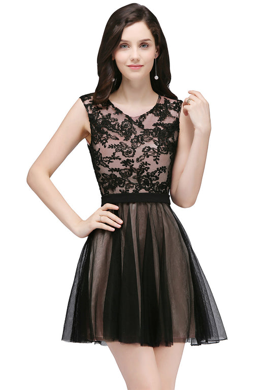 Chicloth A-Line Crew Short Sleeveless Tulle Lace Appliques Prom Dresses-Chicloth