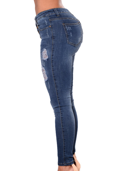 Chicloth Floral Embroidered Whisker Detail Skinny Jeans-Women's Clothes||Jeans-Chicloth