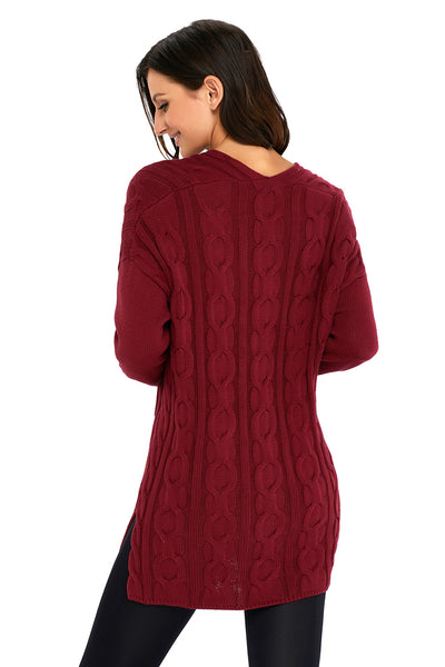 A| Chicloth Wine Oversized Cozy Up Knit Sweater-Sweaters-Chicloth