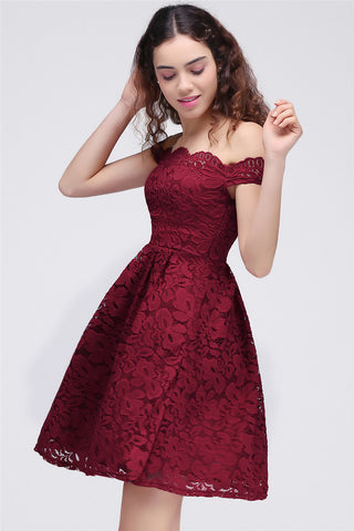 AA| Chicloth A-Line Off-The-Shoulder Short Burgundy Lace Homecoming Dresses