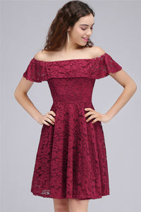 AA| Chicloth A-Line Off-The-Shoulder Lace Burgundy Homecoming Dresses