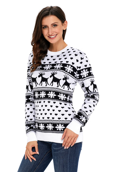 Chicloth Black Reindeer and Snowflake Knit Christmas Sweater