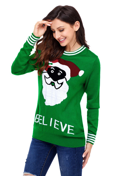 Chicloth Black Santa Christmas Sweater In Green
