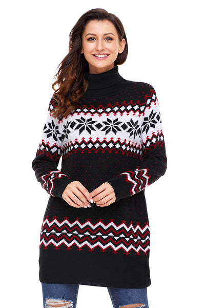 Chicloth Black Christmas Snowflake Knit Turtleneck Jumper